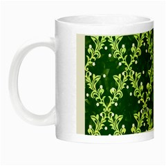 White Flowers Green Damask Night Luminous Mugs