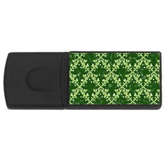 White Flowers Green Damask Rectangular Usb Flash Drive