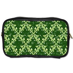 White Flowers Green Damask Toiletries Bag (two Sides)
