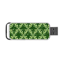 White Flowers Green Damask Portable Usb Flash (one Side)