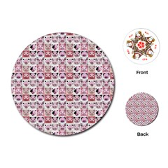 Graphic Seamless Pattern Pig Playing Cards (round)
