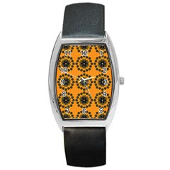 Abstract Template Flower Barrel Style Metal Watch