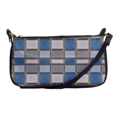 Abstract Seamless Fabric Blue Shoulder Clutch Bag
