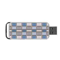 Abstract Seamless Fabric Blue Portable Usb Flash (one Side)