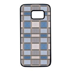 Abstract Seamless Fabric Blue Samsung Galaxy S7 Black Seamless Case