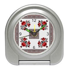 Ornament Pattern Background Design Travel Alarm Clock by Pakrebo