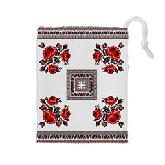 Ornament Pattern Background Design Drawstring Pouch (large)