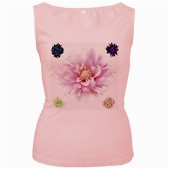 Abstract Transparent Image Flower Women s Pink Tank Top