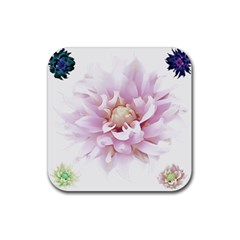 Abstract Transparent Image Flower Rubber Coaster (square)