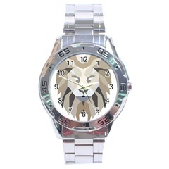 Polygonal Low Poly Lion Feline Stainless Steel Analogue Watch by Pakrebo