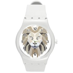 Polygonal Low Poly Lion Feline Round Plastic Sport Watch (m) by Pakrebo