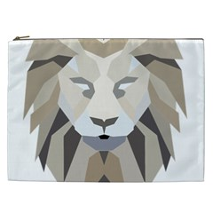 Polygonal Low Poly Lion Feline Cosmetic Bag (xxl)