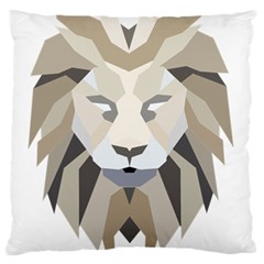 Polygonal Low Poly Lion Feline Large Flano Cushion Case (one Side) by Pakrebo