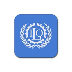 Flag Of International Labour Organization Rubber Coaster (square)  by abbeyz71