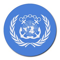 Flag Of International Maritime Organization Round Mousepads by abbeyz71