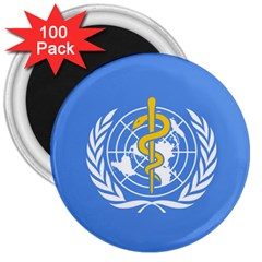 Flag Of World Health Organization 3  Magnets (100 Pack) by abbeyz71