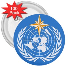 Flag Of World Meteorological Organization 3  Buttons (100 Pack)