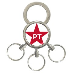 Logo Of Brazil Workers Party 3 Ring Key Chains