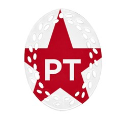 Logo Of Brazil Workers Party Oval Filigree Ornament (two Sides)