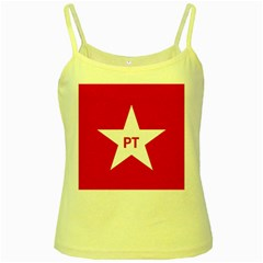 Flag Of Brazil Workers Party Yellow Spaghetti Tank