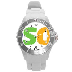 Logo Of Brazil Social Democratic Party Round Plastic Sport Watch (l)