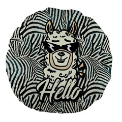Hello Lama Large 18  Premium Round Cushions by NiOng