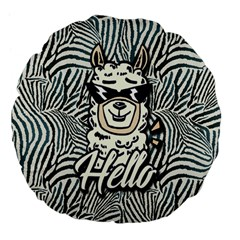Hello Lama Large 18  Premium Flano Round Cushions by NiOng