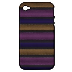 Stripes Pink Yellow Purple Grey Apple Iphone 4/4s Hardshell Case (pc+silicone) by BrightVibesDesign