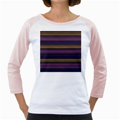 Stripes Pink Yellow Purple Grey Girly Raglan