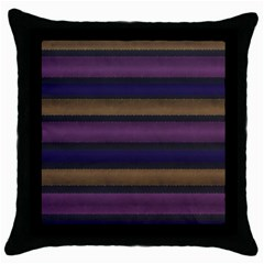 Stripes Pink Yellow Purple Grey Throw Pillow Case (black) by BrightVibesDesign