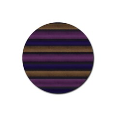 Stripes Pink Yellow Purple Grey Rubber Round Coaster (4 Pack)  by BrightVibesDesign