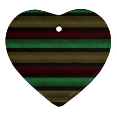Stripes Green Red Yellow Grey Heart Ornament (two Sides) by BrightVibesDesign