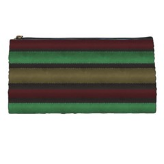 Stripes Green Red Yellow Grey Pencil Cases by BrightVibesDesign