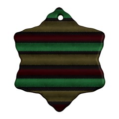 Stripes Green Red Yellow Grey Snowflake Ornament (two Sides)