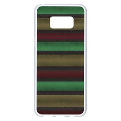Stripes Green Red Yellow Grey Samsung Galaxy S8 Plus White Seamless Case by BrightVibesDesign