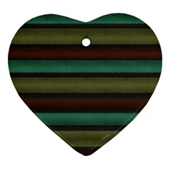 Stripes Green Yellow Brown Grey Ornament (heart) by BrightVibesDesign
