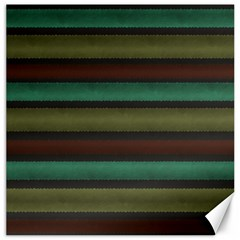 Stripes Green Yellow Brown Grey Canvas 12  X 12  by BrightVibesDesign