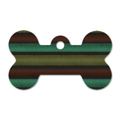 Stripes Green Yellow Brown Grey Dog Tag Bone (one Side)