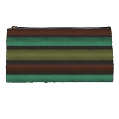 Stripes Green Yellow Brown Grey Pencil Cases by BrightVibesDesign