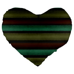 Stripes Green Yellow Brown Grey Large 19  Premium Heart Shape Cushions