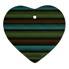 Stripes Teal Yellow Brown Grey Ornament (heart) by BrightVibesDesign