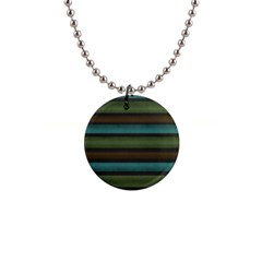 Stripes Teal Yellow Brown Grey 1  Button Necklace