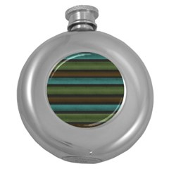 Stripes Teal Yellow Brown Grey Round Hip Flask (5 Oz) by BrightVibesDesign
