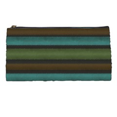 Stripes Teal Yellow Brown Grey Pencil Cases by BrightVibesDesign