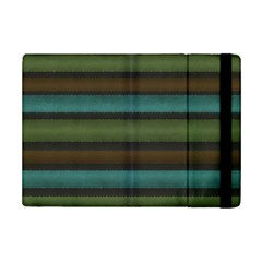 Stripes Teal Yellow Brown Grey Ipad Mini 2 Flip Cases by BrightVibesDesign