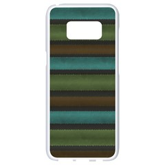 Stripes Teal Yellow Brown Grey Samsung Galaxy S8 White Seamless Case
