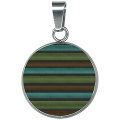 Stripes Teal Yellow Brown Grey 20mm Round Necklace