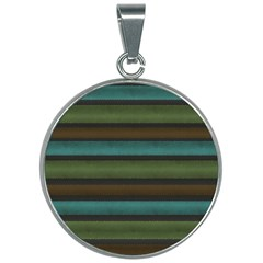 Stripes Teal Yellow Brown Grey 30mm Round Necklace