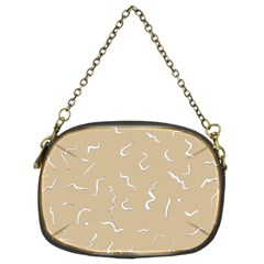 Almond Buff Scribbles Chain Purse (two Sides)