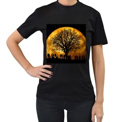 Met By Moonlight Women s T Shirt (black) (two Sided) by WensdaiAddamns